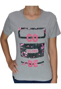Camiseta Baby Look Code Grl Pwr Feminina - Feminino-Cinza