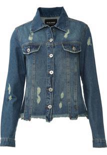 Jaqueta Jeans Malwee Destroyed Azul
