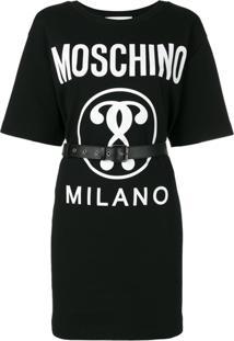 Moschino Vestido Com Logo - Preto