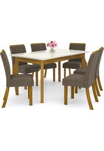 Sala De Jantar Mesa Retangular Ghala 160Cm Com 6 Cadeiras Vita Nature/