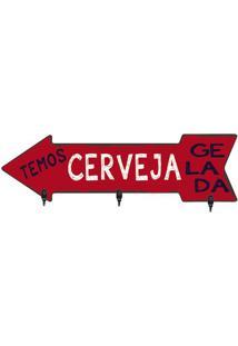 """Porta Chaves Seta """"Cerveja Gelada""""- Vermelho & Branco"""