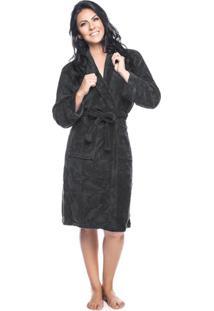 Roupão Fleece Adulto Quimono Com Gola Sublime M Com 1 Peça - Produto Importado Lepper Preto