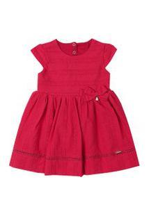 Vestido Infantil Paraiso Tecido Broderie E Lacinho Vermelho