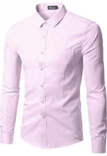 Camisa Social Masculina Slim Manga Longa - Rosa Pp