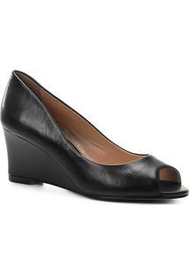 Peep Toe Couro Shoestock Anabela Confort - Feminino-Preto