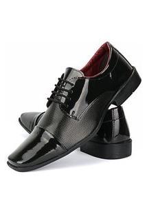 Sapato Social Verniz Preto Rebento De Cadarço