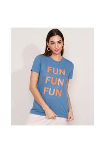 """T-Shirt De Algodão Fun"""" Manga Curta Decote Redondo Mindset Azul"""""""