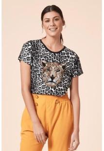 T-Shirt Tvz Onça Bordado Feminino - Feminino-Preto+Marrom