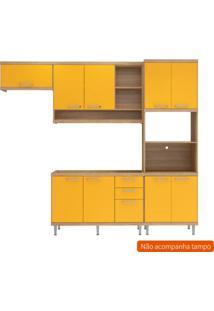 Cozinha Compacta Lobos 9 Pt 3 Gv Argila E Amarelo