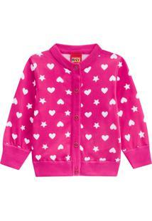 Casaco Infantil Coração Menina Kyly Rosa