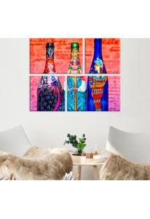 Conjunto De 4 Telas Decorativas Em Canvas Garrafas Pintadas Único Love Decor