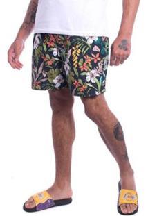 Bermuda Jota K Sintetica Floral Masculina - Masculino-Preto