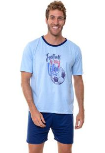 Pijama Masculino Manga Curta Football Luna Cuore