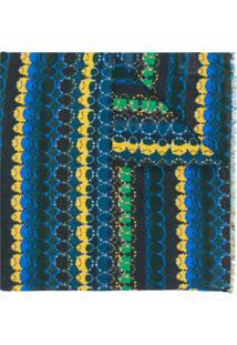 Paul Smith Echarpe Com Listras Geométricas - Azul