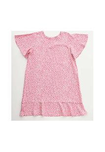 Vestido Infantil Estampa Bolinhas Manga Curta