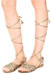 Rasteira Dafiti Shoes Gladiadora Tressê Dourada