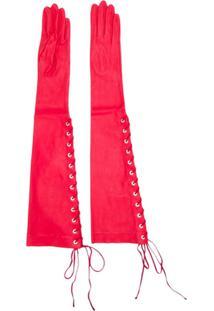 Unravel Project Par De Luvas Com Amarração - Vermelho