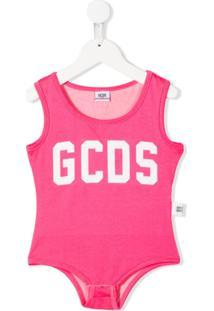 Gcds Kids Body Com Estampa De Logo - Rosa