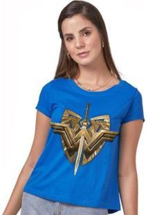 Camiseta Feminina Wonder Woman Sword & Emblem - Feminino-Azul