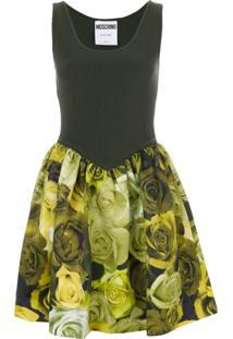 Moschino Vestido Canelado E Floral - Green