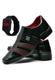 Sapato Social Masculino Asgard Com Relógio Led Db 813Lbm Vinho
