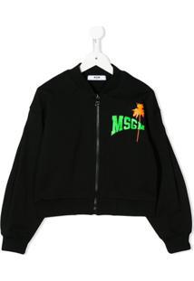 Msgm Kids Chest Logo Bomber Jacket - Preto