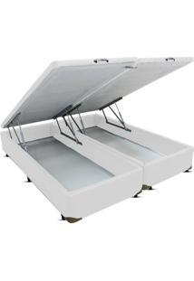 Cama Box King Bipartido Bau Frontal Pistão Corino Branco - 178X198