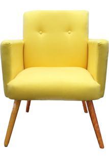 Poltrona Decorativa Pés Palito Nina Plus Suede Amarelo - Ds Móveis