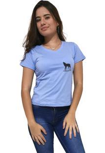 Camiseta Feminina Gola V Cellos Howled Premium Azul Claro