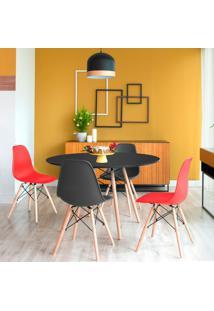 Conjunto De Mesa De Jantar Com 4 Cadeiras Eames Eiffel Premium Preto E Vermelho