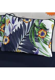 Porta Travesseiro Tecebem Malha Flora Estampado 55Cmx80Cm Marinho