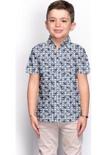 Camisa Social Infantil Menino Manga Curta Floral Casual - Kanui