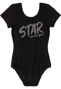 Body Infantil Star Preto