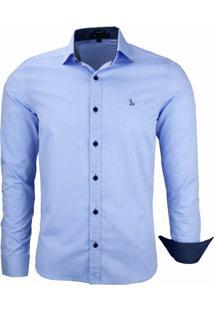 Camisa Social Amil Tecido Pontilhado 1642 Azul Bebê - Kanui