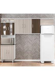 Cozinha Compacta Suíça 3 Peças Com Vidro - Poliman - Branco / Rovere / Amêndoa