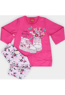 Conjunto Infantil Kyly Blusa + Calça Estampado Feminino - Feminino-Rosa