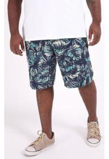 Bermuda Kauê Plus Size Tactel Estampado Masculina - Masculino-Azul