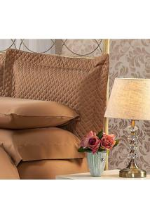Fronha Para Travesseiro 50X150Cm Matelasse Soft Touch Café Plumasul