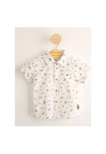 Camisa Infantil De Algodão Mini Print Dinossauros Com Bolso Manga Curta Off White