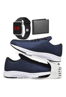 Kit Tênis Esportivo Caminhada Com Organizador, Carteira E Relógio Led Silver Dubuy 1108Db Azul