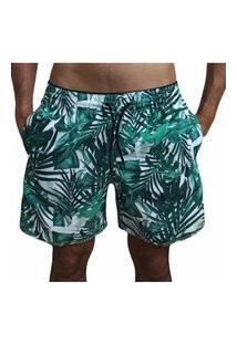 Bermuda Short Moda Praia Opice Estampado Flores Verdes