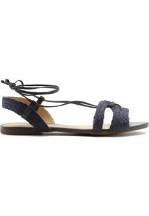 Sandália Amarrações Natural Azul Marinho | Anacapri