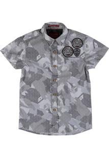 Camisa Manga Curta Camuflada Juvenil Para Menino - Cinza