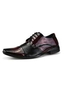 Sapato Social Neway Masculino Vinho E Preto