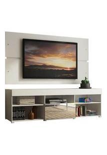 Rack Com Painel Para Tv Até 65 Polegadas Madesa Dublin 1 Porta Com Espelho Branco Branco