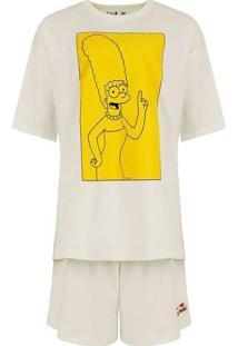 Pijama Manga Curta Feminino Os Simpsons Off-White