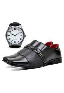 Sapato Social Urbano Com Relógio New Masculino Dubuy 821Db Preto