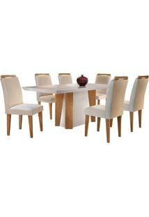 Conjunto De Mesa Para Sala De Jantar Tampo De Vidro Helena Com 6 Cadeiras Athenas-Rufato - Veludo Creme / Off White / Imbuia
