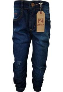 Calça Jeans Tradicional Menino Desfiado Com Bolsos Conforto - Masculino-Azul Escuro