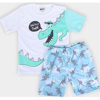 70f2ca15b3 Pijama Infantil Kiko   Kika Dinossauro Masculino - Masculino-Cinza+Azul  Claro